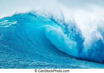 bonito, oceano azul, onda