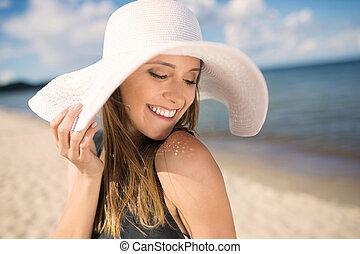 bonito, olhar, mulher, baixo, chapéu, sensual