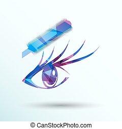 bonito, olho azul, ilustração, vetorial, mascara, femininas