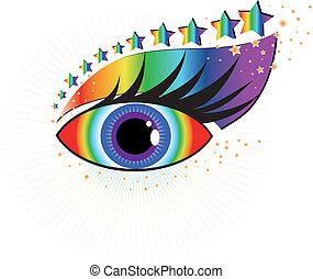 bonito, olho humano, vetorial