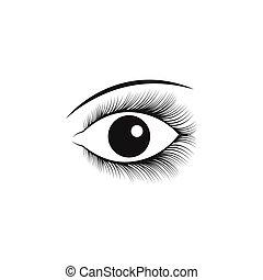 bonito, olho, símbolo, ilustração, vetorial, modelo