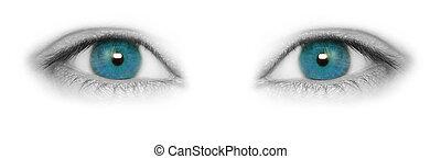 bonito, olhos azuis