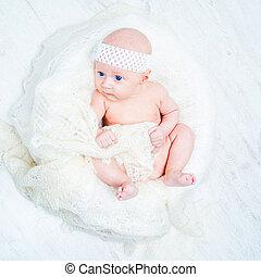 bonito, olhos azuis, bebê
