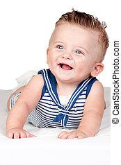 bonito, olhos azuis, bebê, loura