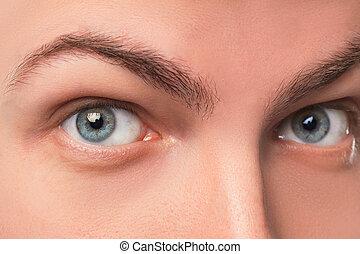 bonito, olhos azuis, cima fim, homem