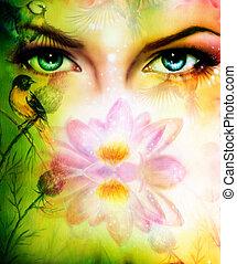 bonito, olhos azuis, enc, irradiando, cor, cima, par,...