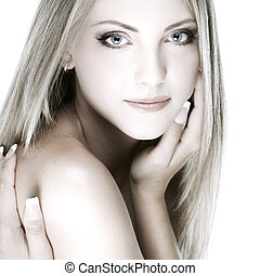 bonito, olhos azuis, mulher, jovem, closeup, whiteheaded,...