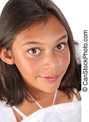 bonito, olhos marrons, de, menina adolescente