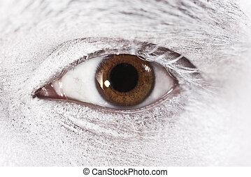 bonito, olhos marrons, macho, closeup