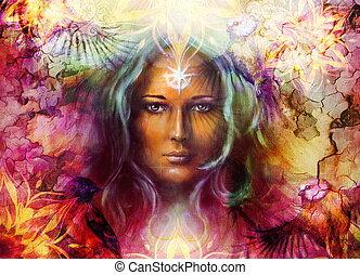bonito, ornamental, deusa, mulher, cor, abstratos, fundo, bird., mandala, quadro