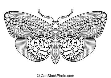 bonito, ornamento, butterfly.