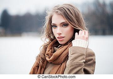 bonito, outdoors., mulher, parque, menina