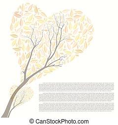 bonito, outono, árvore, forma coração, para, seu, desenho