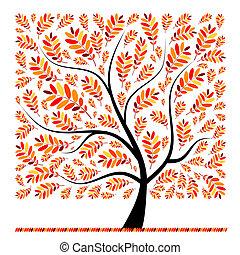 bonito, outono, árvore, para, seu, desenho