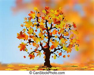 bonito, outono, árvore, para, seu, design.