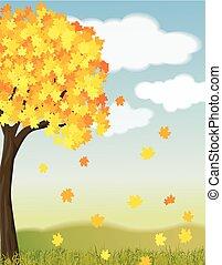 bonito, outono, ilustração
