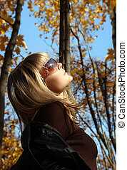 bonito, outono, menina, fundo