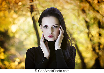 bonito, outono, mulher, floresta