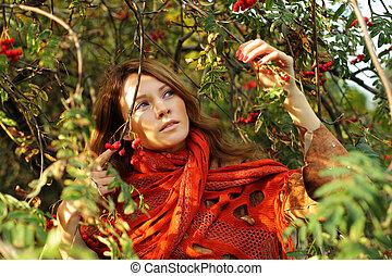 bonito, outono, mulher, foliage