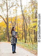 bonito, outono, mulher, natureza