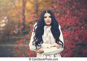 bonito, outono, mulher, parque, ao ar livre
