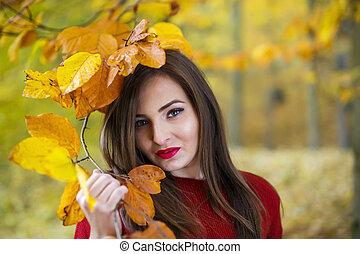 bonito, outono, mulher, parque