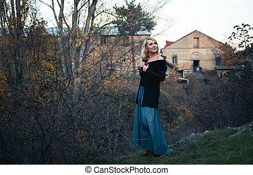 bonito, outono, mulher, parque, loura