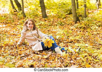 bonito, outono, park., femininas