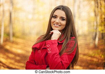 bonito, outono, retrato mulher, tempo