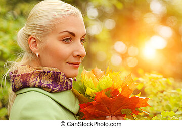 bonito, outono sai, mulher