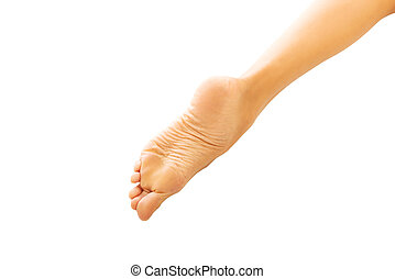 bonito, pés, mulher, cima fim