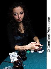 bonito, pôquer, menina, tocando