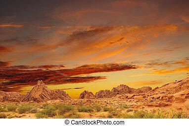 bonito, pôr do sol, colorido
