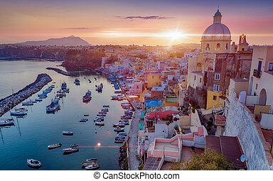 bonito, pôr do sol, em, procida, ilha, itália