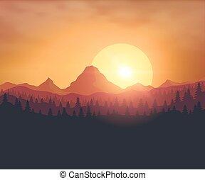 bonito, pôr do sol, fundo