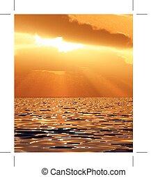 bonito, pôr do sol, ilustração