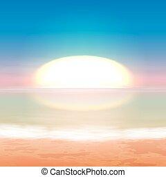 bonito, pôr do sol, mar