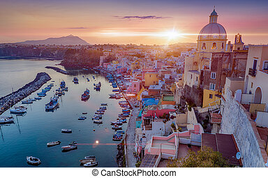 bonito, pôr do sol, procida, itália, ilha
