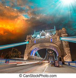 bonito, pôr do sol, sobre, ponte torre, -, londres