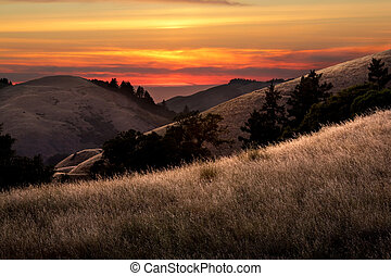 bonito, pôr do sol, sobre, vales, califórnia