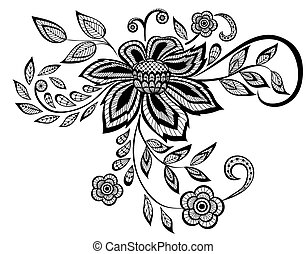 bonito, padrão, elemento, desenho, floral, pretas, branca