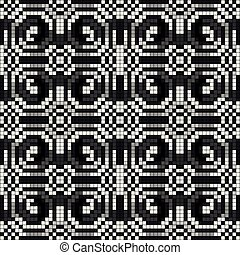 bonito, padrão, seamless, ilustração, vetorial, monocromático, pixels