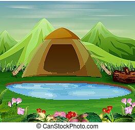bonito, paisagem, acampamento, natureza