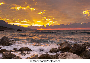 bonito, paisagem, com, amanhecer, e, grande, pedras, a, mar...