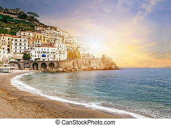 bonito, paisagem, de, amalfi costeiam, mar mediterrâneo,...