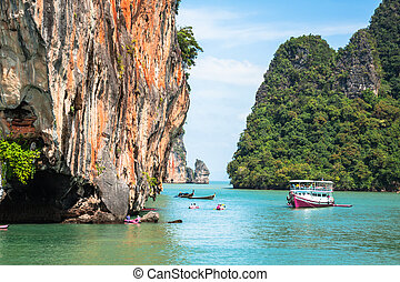 bonito, paisagem, de, phang, nga, parque nacional, em, tailandia