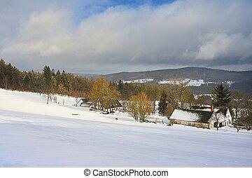 bonito, paisagem., inverno, tcheco, -, republic., altiplano