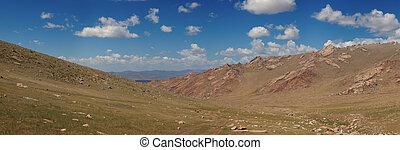 bonito, paisagem., mongolia, altai, altiplano, montanhas.
