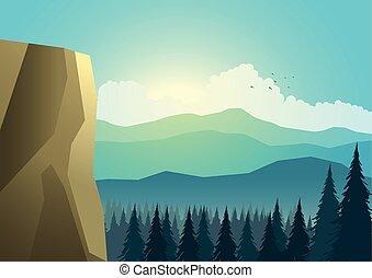 bonito, paisagem montanha, árvores, pinho