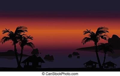 bonito, paisagem, praia, silueta